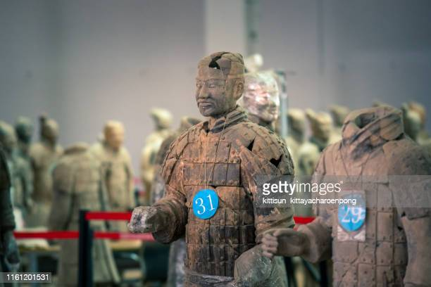 the terracotta warriors at the mausoleum of the first qin emperor in xi'an, shaanxi province, china - emperor stock pictures, royalty-free photos & images