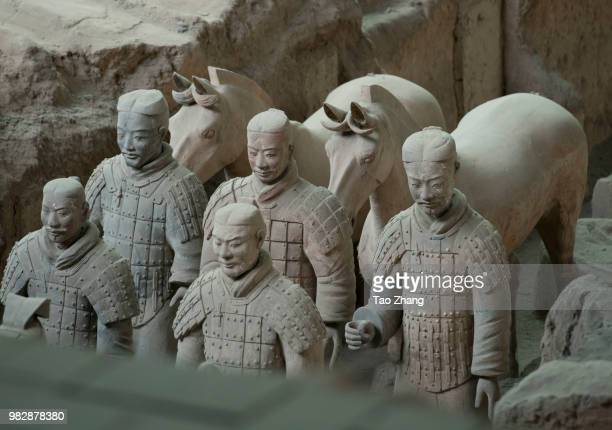 The Terracotta Warriors of the Mausoleum of the First Qin Emperor Xi'an are on display on June 24 2018 in Xi'An China Made in Qin Dynasty from 246 BC...
