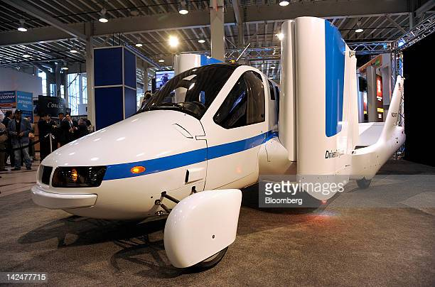 The Terrafugia Transition 'flying car' sits on display at the New York International Auto Show in New York US on Thursday April 5 2012 The Terrafugia...