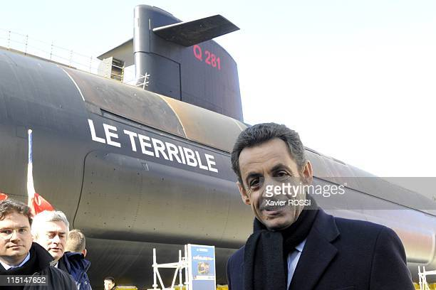 The Terrible a new generation nuclear armed submarine is seen during his inauguration by French President Nicolas Sarkozy in Cherbourg, France on...