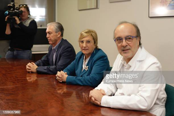 The Territorial Director of Health Edelmiro Sebastian the counsellor of Health Ana Barcelo and hospital manager Miguel Rovira pose during their...