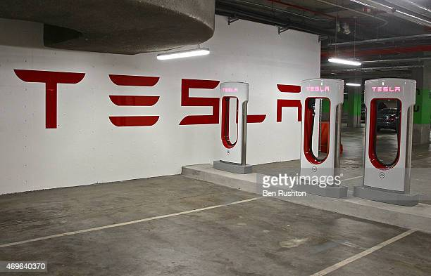 The Tesla electric car charging station in the car park at The Star Casino in Pyrmont on April 14 2015 in Sydney Australia The Pyrmont supercharger...
