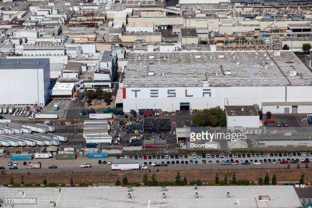 The Tesla Inc assembly plant stands in this aerial photograph taken above Fremont California US on Wednesday Oct 23 2019 Tesla shares are trading...