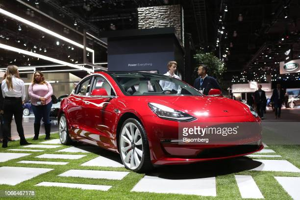 The Tesla Inc Model 3 is displayed during AutoMobility LA ahead of the Los Angeles Auto Show in Los Angeles California US on Thursday Nov 29 2018...