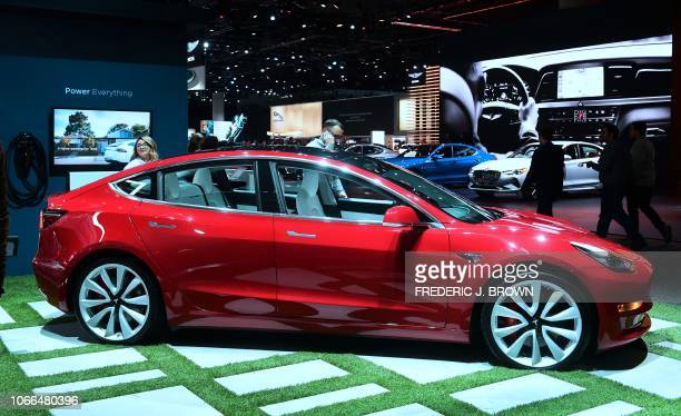 The Tesla Model 3 on display in Los Angeles California on November 29 2018 at Automobility LA formerly the LA Auto Show Press and Trade Days which...