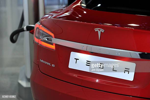 The Tesla Model S electric car is displayed during the 2016 London Motor Show at Battersea Evolution Marquee on May 5 2016 in London England The show...