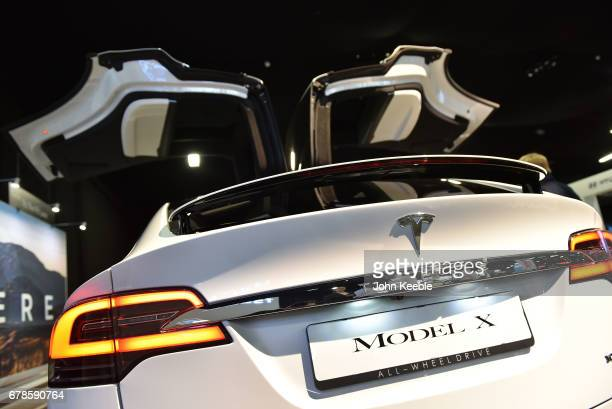 The Tesla Model x on display at the London Motor Show at Battersea Evolution on May 4 2017 in London England 41 dealerships and manufacturers will...