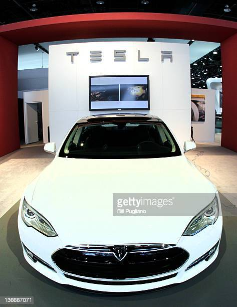The Tesla Modes S Signature is shown during a media preview day at the 2012 North American International Auto Show January 10 2012 in Detroit...