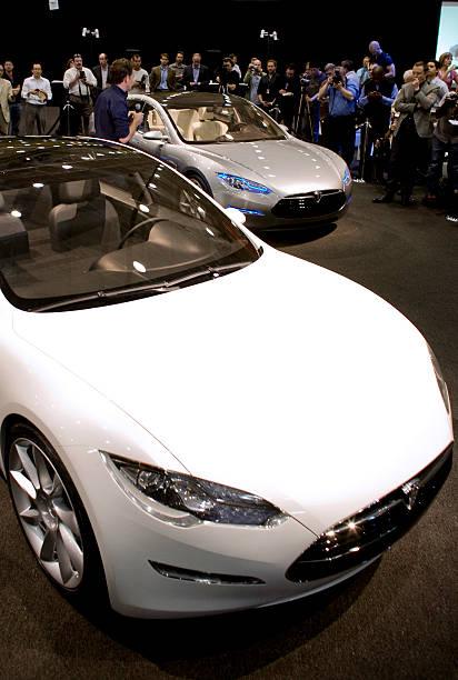 The Tesla Motors Inc Model S Electric Car Is Displayed Afte