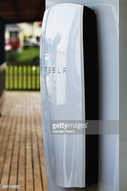 The Tesla Powerwall battery is shown installed at Rongomai School on May 13 2016 in Auckland New Zealand The Powerwall and solar system by lines...