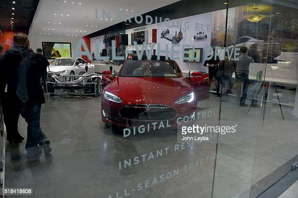 The Tesla showroom at Park Meadows Mall Tesla fans stood in long lines at Park Meadows March 31 2016 to preorder the new Tesla due to be unveiled...
