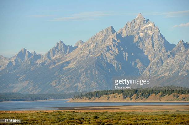 The Teton Mountain Range stands in the background of the annual Jackson Hole economic symposium sponsored by the Kansas City Federal Reserve Bank at...