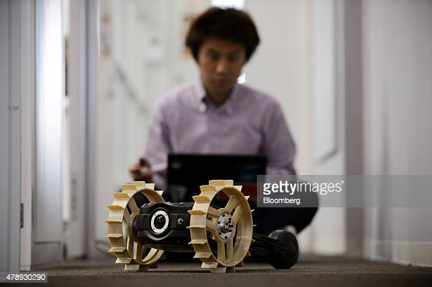 The Tetris twowheeled lunar rover developed by Hakuto team managed by Ispace Technologies Inc is demonstrated in Tokyo Japan on Friday April 17 2015...