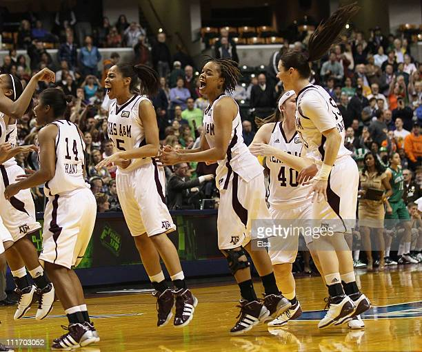 The Texas A&M Aggies celebrate after championship game of the 2011 NCAA Women's Final Four on April 5, 2011 at Conseco Fieldhouse in Indianapolis,...