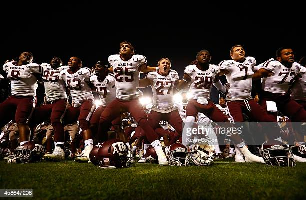 The Texas A&M Aggies celebrate after their 41-38 win over the Auburn Tigers at Jordan Hare Stadium on November 8, 2014 in Auburn, Alabama.