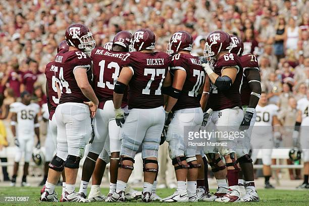 The Texas AM Aggies offense huddles against the Missouri Tigers at Kyle Field on October 14 2006 in College Station Texas Texas AM won 2519