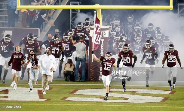 The Texas A&M Aggies take the field before the game against the Arkansas Razorbacks at Kyle Field on October 31, 2020 in College Station, Texas.