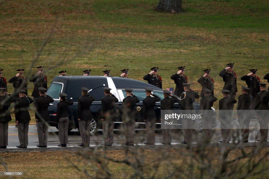 The Texas A M Corps Of Cadets Salute As They Line Up On Barbara Bush