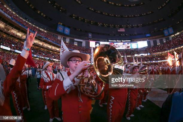The Texas band plays before the Allstate Sugar Bowl game between the Georgia Bulldogs and the Texas Longhorns on January 1 2019 at the MercedesBenz...