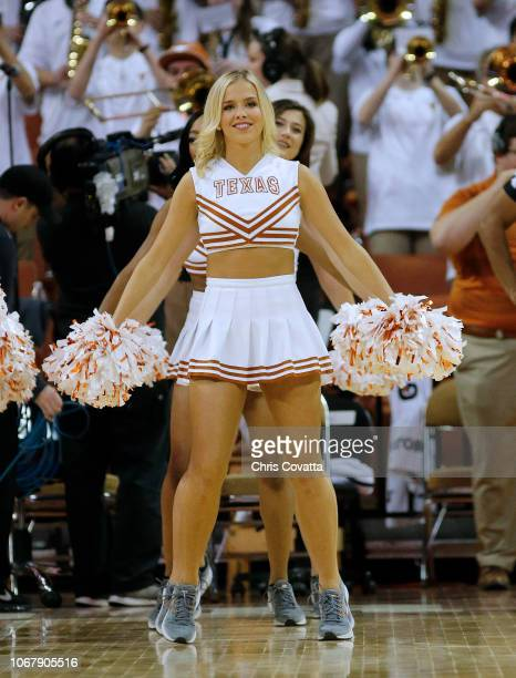 The Texas cheerleaders perform during the game between the Texas Longhorns and the Louisiana Monroe Warhawks at the Frank Erwin Center on November 12...