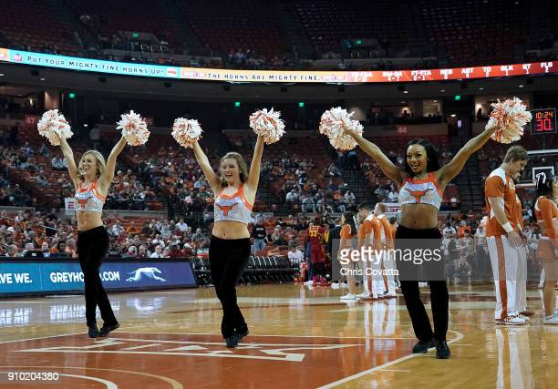 The Texas cheerleaders perform during the game between the Texas Longhorns and the Iowa State Cyclones at the Frank Erwin Center on January 22 2018...