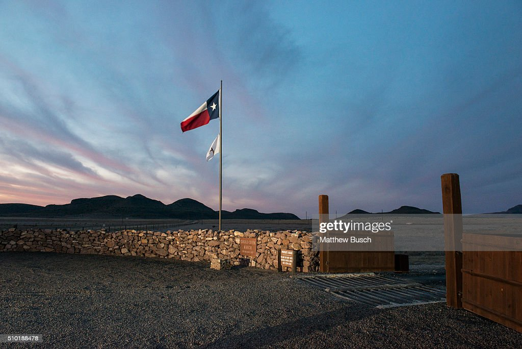 The Texas flag flies at the entrance to the Cibolo Creek Ranch early Sunday, the day after the death of Supreme Court Justice Antonin Scalia, February 14, 2016 in Shafter, Texas.