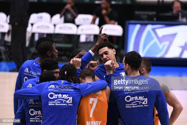 The Texas Legends huddle before the game against the Agua Caliente Clippers on March 18 2018 at the Dr Pepper Arena in Frisco Texas NOTE TO USER User...