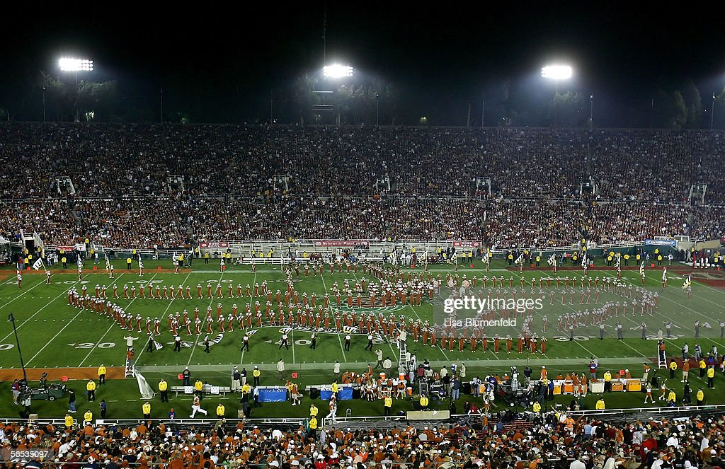 The Texas Longhorns band performs at halftime of the BCS National Championship Rose Bowl Game between the Longhorns and the USC Trojans at the Rose Bowl on January 4, 2006 in Pasadena, California. Texas defeated USC