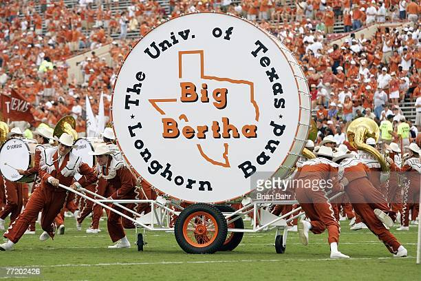 The Texas Longhorns band rolls out Big Bertha drum during the game against of the Kansas State Wildcats on September 29 2007 at Darrell K RoyalTexas...