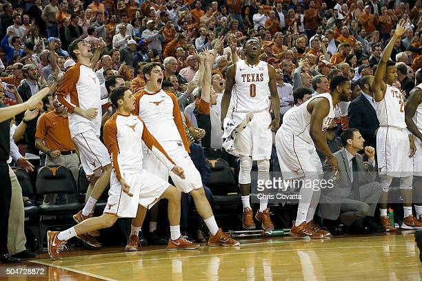 The Texas Longhorns bench reacts as they take the lead against the Iowa State Cyclones at the Frank Erwin Center on January 12 2016 in Austin Texas
