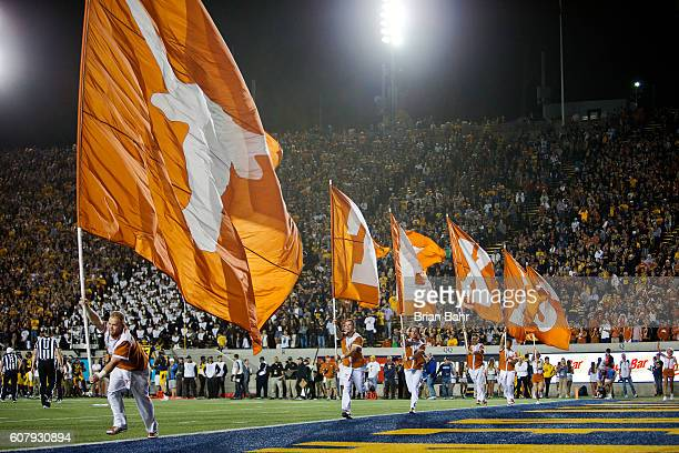 The Texas Longhorns celebrate a touchdown against the California Golden Bears in the first quarter on September 17 2016 at California Memorial...