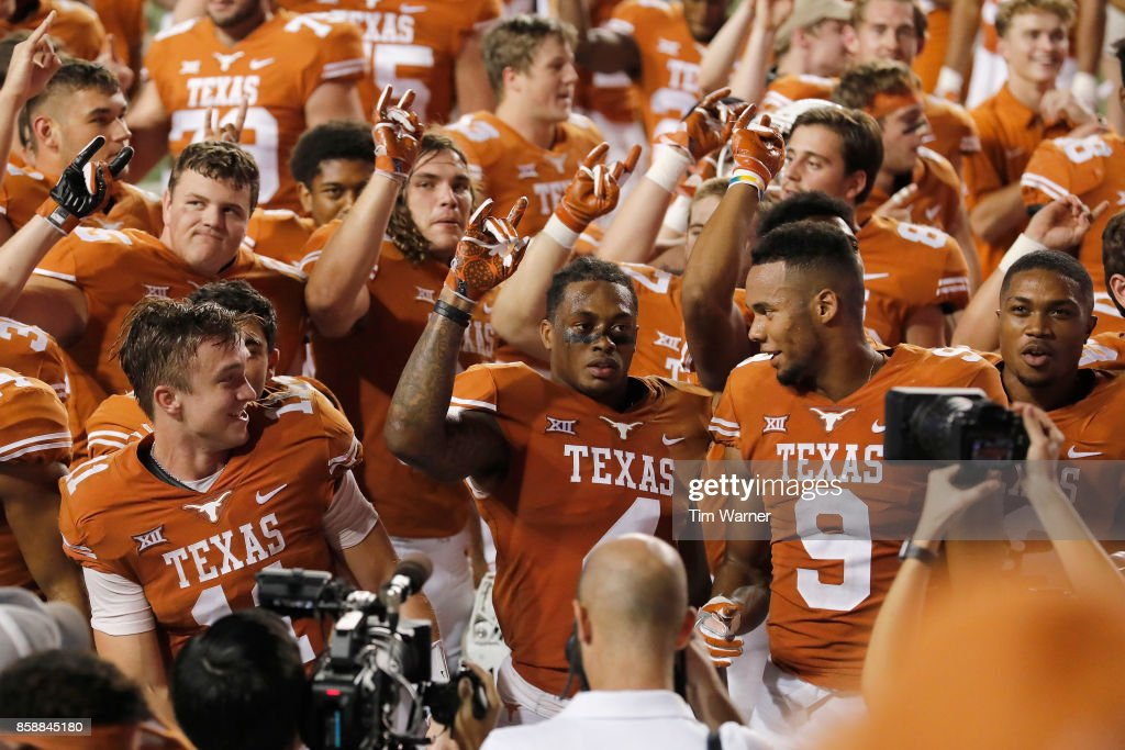 The Texas Longhorns celebrate after the game against the Kansas State Wildcats at Darrell K Royal-Texas Memorial Stadium on October 7, 2017 in Austin, Texas.