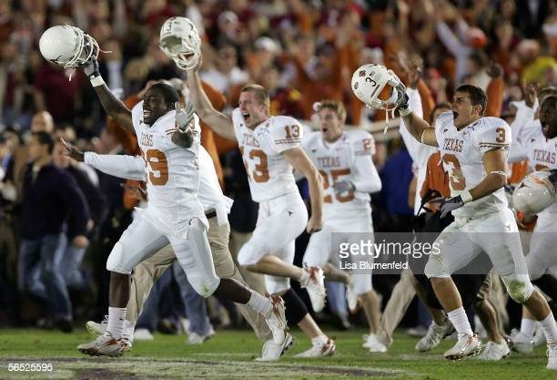 The Texas Longhorns celebrates after defeating the USC Trojans in the BCS National Championship Rose Bowl Game at the Rose Bowl on January 4 2006 in...