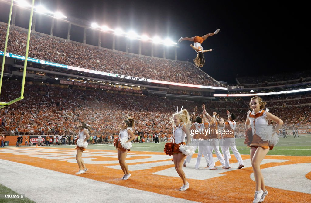 The Texas Longhorns cheerleaders perform during the game against the Kansas State Wildcats at Darrell K Royal-Texas Memorial Stadium on October 7, 2017 in Austin, Texas.
