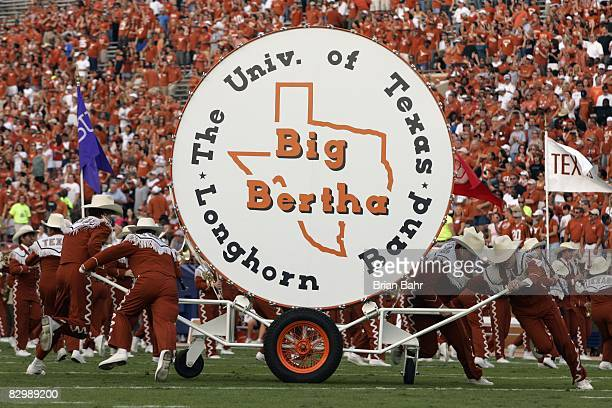 The Texas Longhorns marching band bass drum known as Big Bertha is shown before the game against the Rice Owls on September 20 2008 at Darrell K...