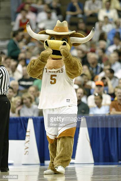 The Texas Longhorns mascot entertains the crowd during a first round game in the NCAA Men's Basketball Tournament against the Princeton Tigers at...