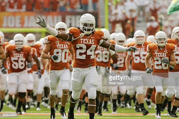 The Texas Longhorns run on to the field for a game against the UCF Knights on November 7 2009 at Darrell K Royal Texas Memorial Stadium in Austin...