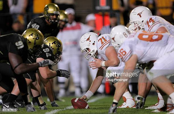 The Texas Longhorns snap the ball against the Colorado Buffaloes at Folsom Field on October 4 2008 in Boulder Colorado Texas defeated Colorado 3814
