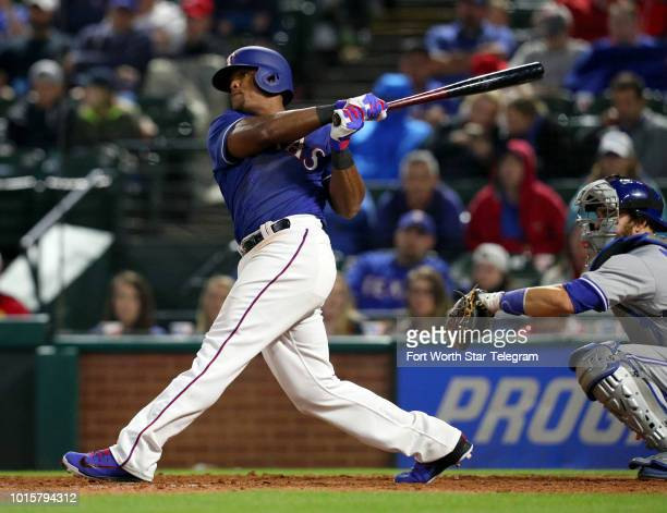 The Texas Rangers' Adrian Beltre watches the ball he hit for a double in the seventh inning against the Toronto Blue Jays on Friday April 6 at Globe...