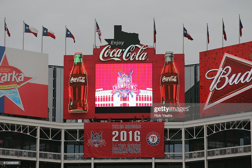 The Texas Rangers display their 2016 AL West Championship