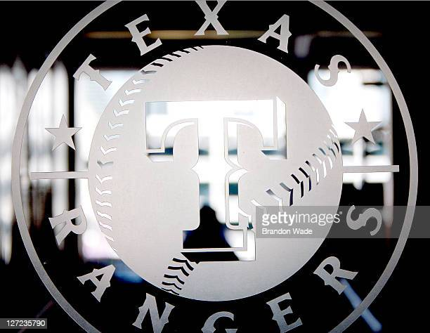 The Texas Rangers logo to the entrance of the press box is shown before a game against the Seattle Mariners at Rangers Ballpark in Arlington on...