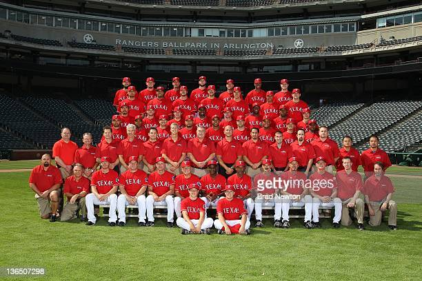 The Texas Rangers pose for their 2011 team photo at Rangers Ballpark in Arlinton on September 1 2011 in Arlington Texas