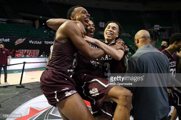 The Texas Southern Tigers celebrate winning the Cricket Wireless SWAC Men's Basketball Tournament championship game between the Texas Southern Tigers...
