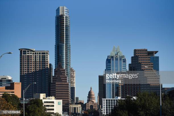 The Texas State Capitol building center stands in downtown Austin Texas US on Thursday Dec 20 2018 Apple Inc announced this month it's opening new...