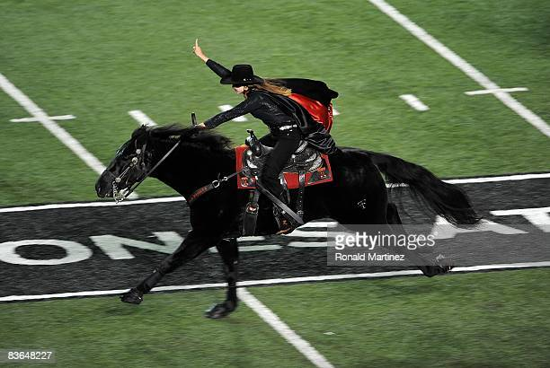 The Texas Tech Red Raiders Masked Rider during a game against the Oklahoma State Cowboys at Jones ATT Stadium on November 8 2008 in Lubbock Texas