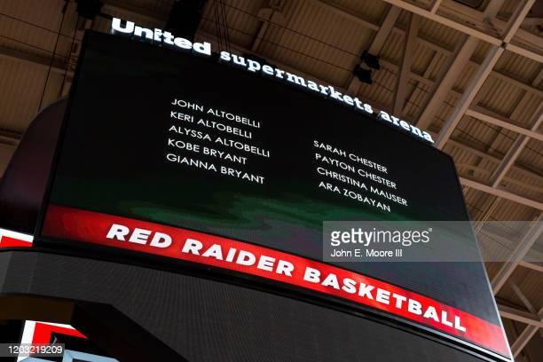 The Texas Tech Red Raiders pay tribute to John Altobelli Keri Altobelli Alyssa Altobelli Kobe Bryant Gianna Bryant Sarah Chester Payton Chester...