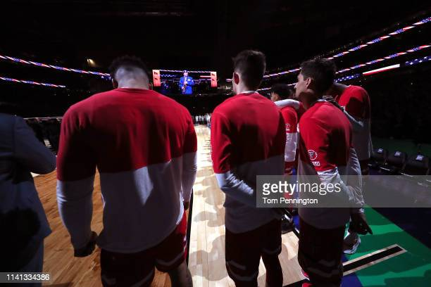 The Texas Tech Red Raiders stand for the national anthem prior to the 2019 NCAA men's Final Four National Championship game against the Virginia...