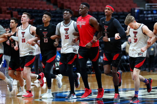 The Texas Tech Red Raiders warm up during a practice session ahead of the 2019 NCAA Men's Basketball Tournament West Regional at Honda Center on...