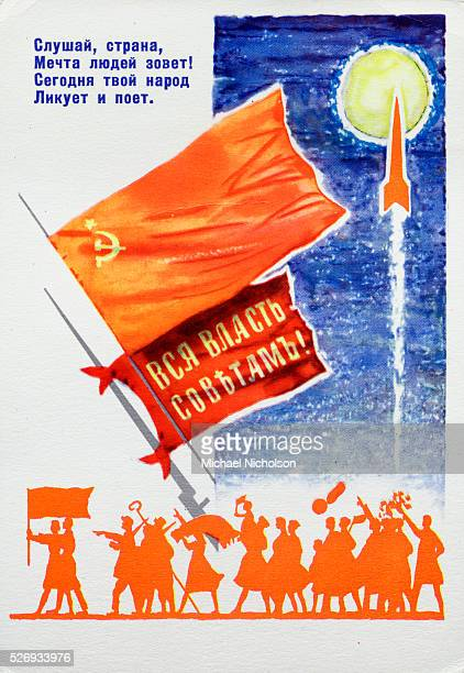 The text at upper left translates as 'Listen country the dream of the people is calling Today your people rejoice and sing' The lower flag reads 'All...