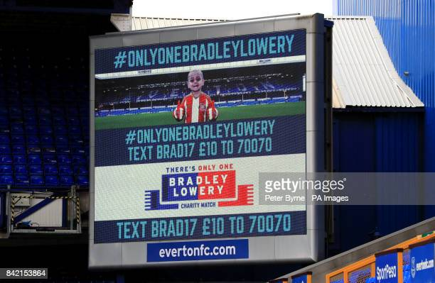 The Text line to donate is displayed on the big screen before the Bradley Lowery charity match at Goodison Park Liverpool